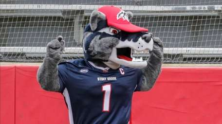 Stony Brook Seawolves mascot Wolfie entertains the fans