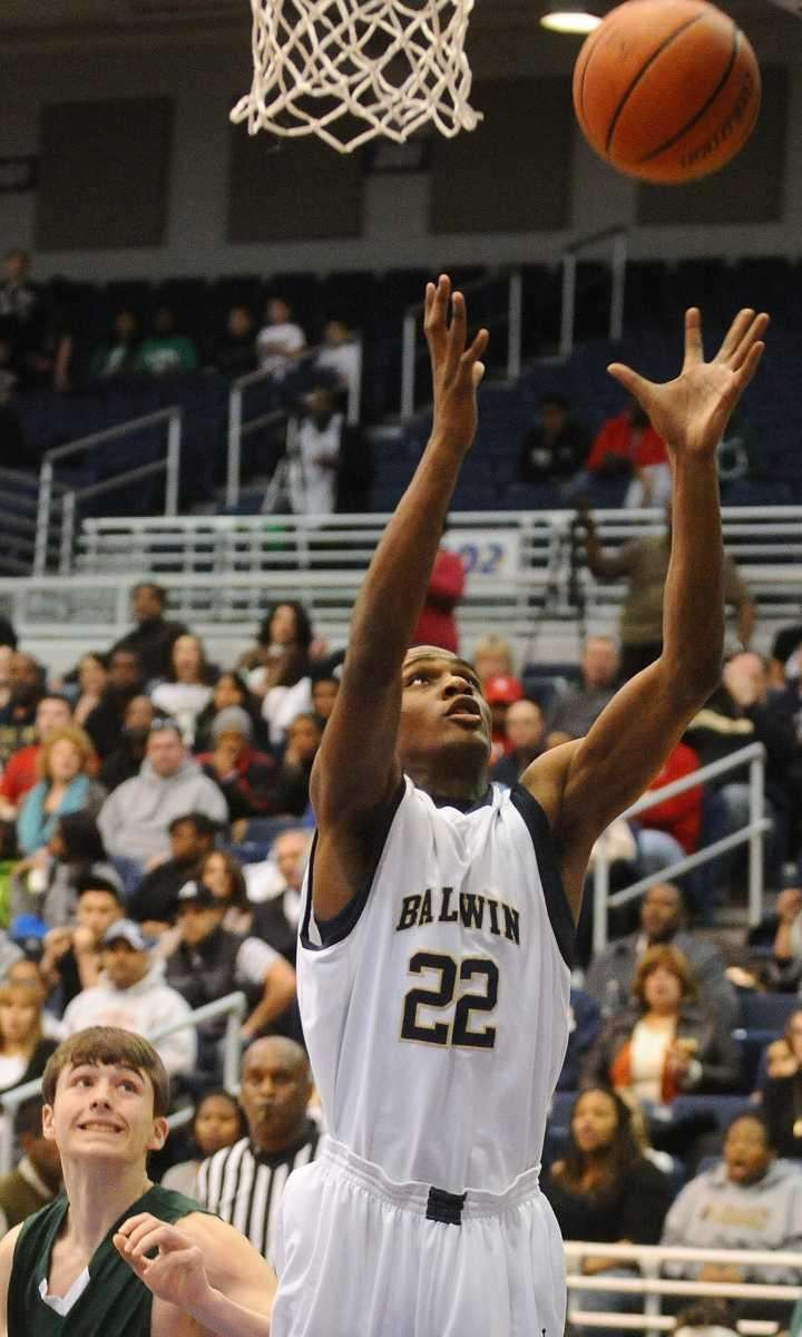 Baldwin's Rashid Lesane looks to grab a rebound
