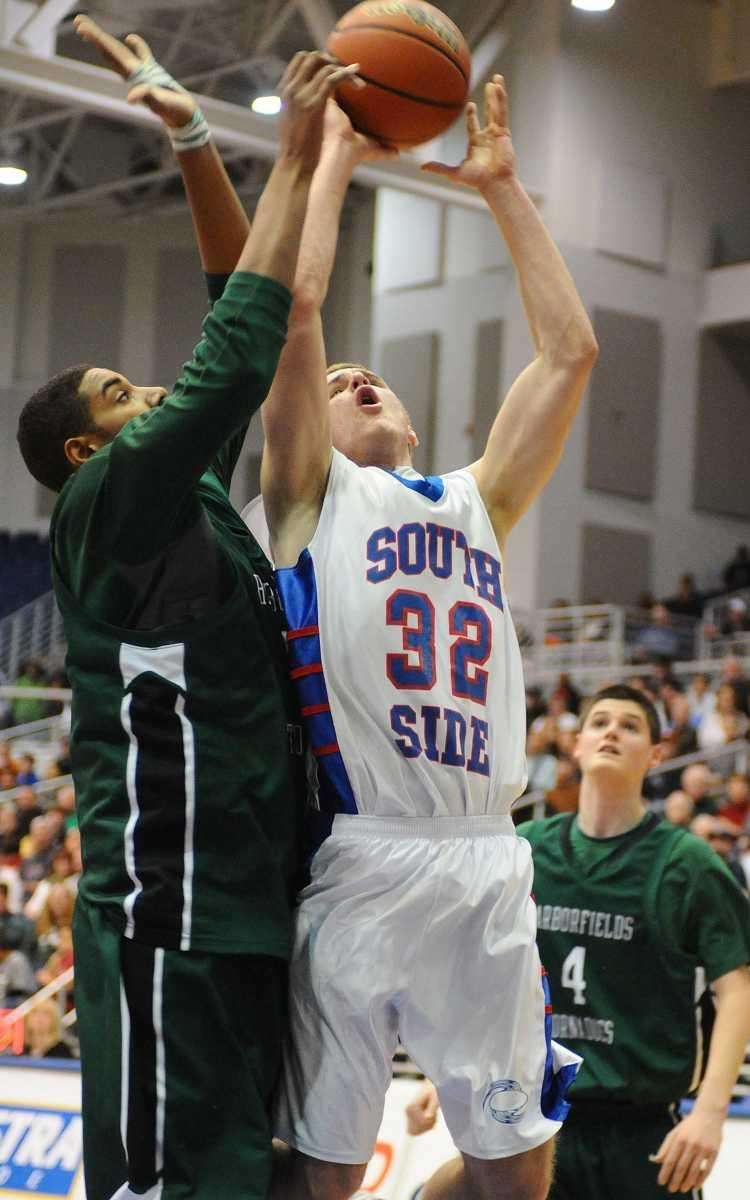 South Side's Ryan Spadaford, right, tries to drive
