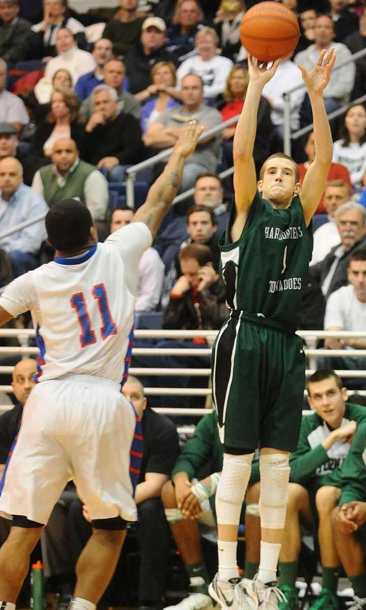 Harborfields point guard Lucas Woodhouse shoots a jumper