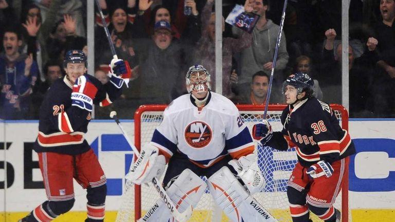 New York Rangers' Derek Stepan and Mats Zuccarello