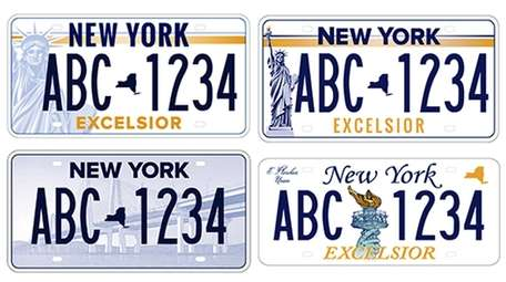 Four of the five license plate designs that