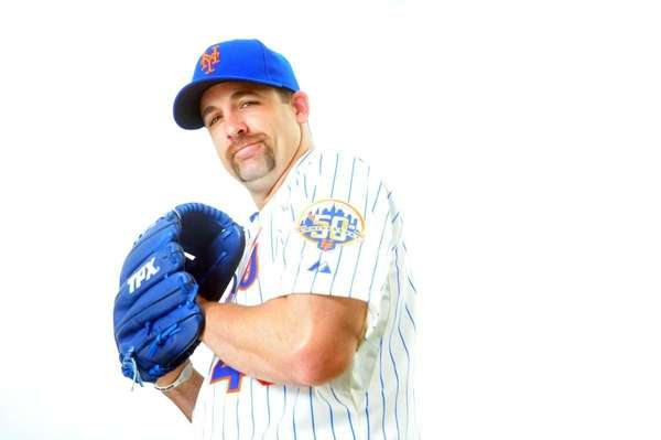 Mets pitcher Tim Byrdak poses during photo day