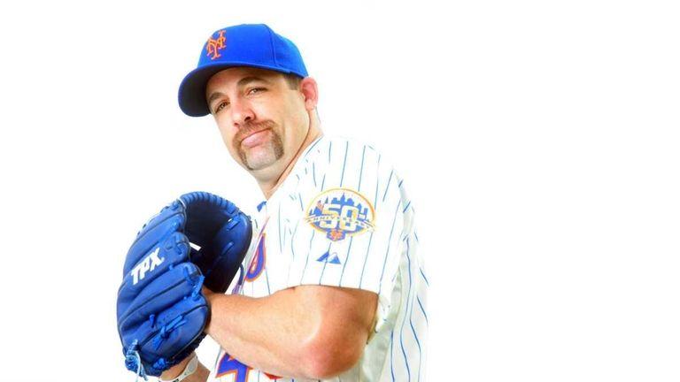 Mets pitcher Tim Byrdak poses during photo day