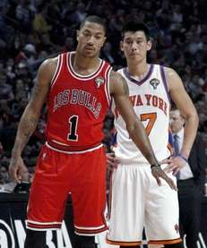 Chicago Bulls guard Derrick Rose (1) stands in