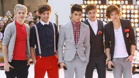 One Direction band members, from left, Niall Horan,