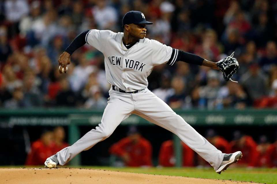 The Yankees' Domingo German pitches during the first