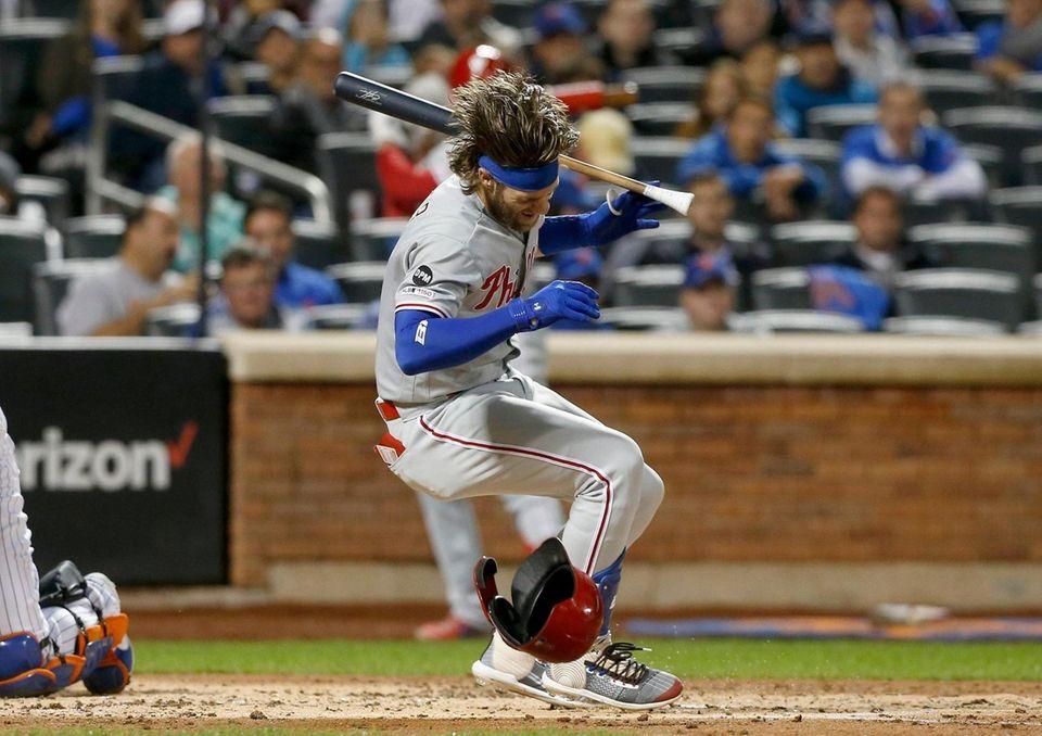 Bryce Harper #3 of the Philadelphia Phillies reacts