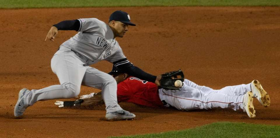 Red Sox centerfielder Jackie Bradley Jr. is caught
