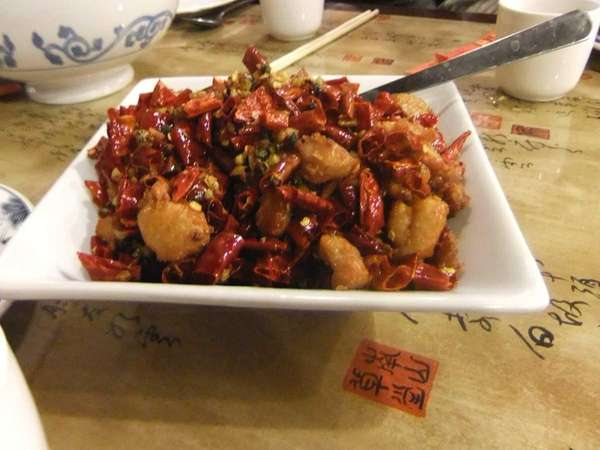 This is the chicken with chili peppers at