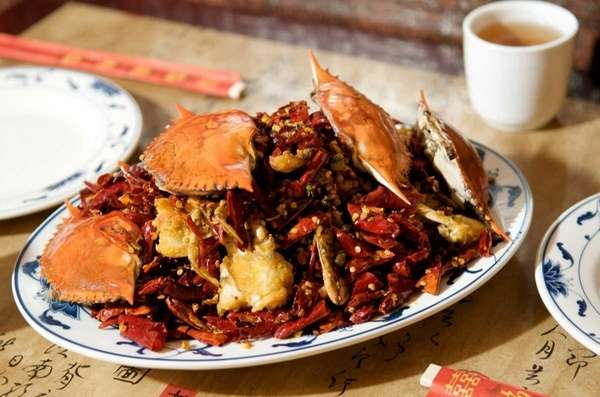 Deep-fried crab in hot spicy sauce at Yao's