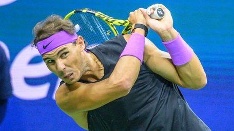 Rafael Nadal hits a backhand against Matteo Berrettini