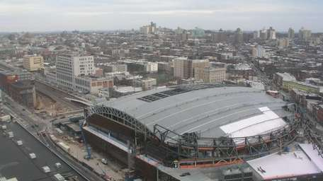 Shot of the Barclays Center under construction in