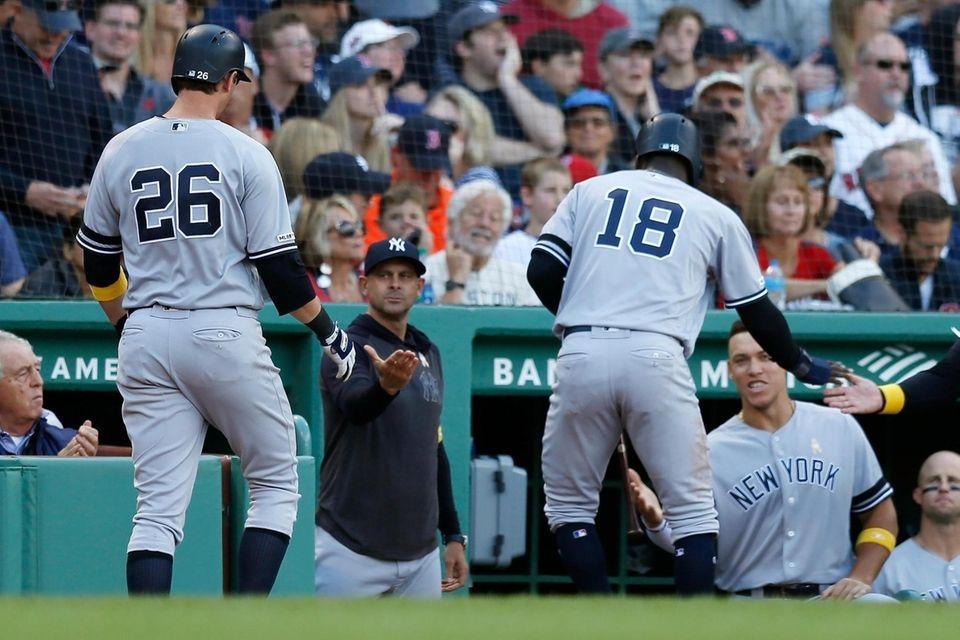 The Yankees' DJ LeMahieu, left, and Didi Gregorius