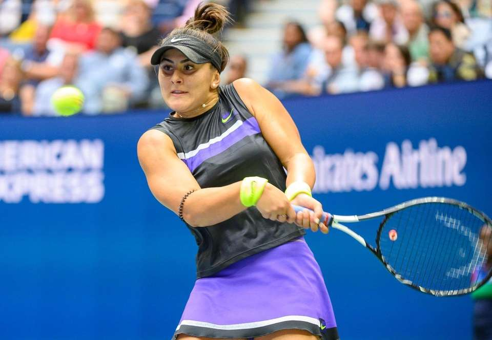 Bianca Andreescu of Canada hitting a backhand against