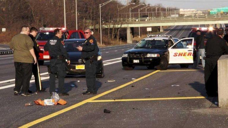 A Suffolk County deputy sheriff's car patrolling the