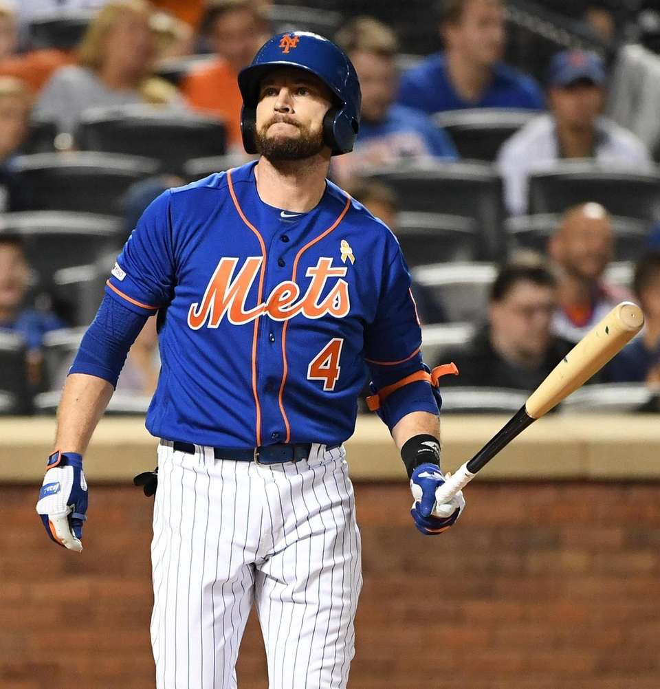 New York Mets pinch hitter Jed Lowri reacts