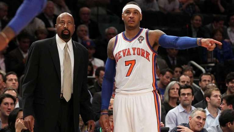 Interim head coach Mike Woodson and Carmelo Anthony