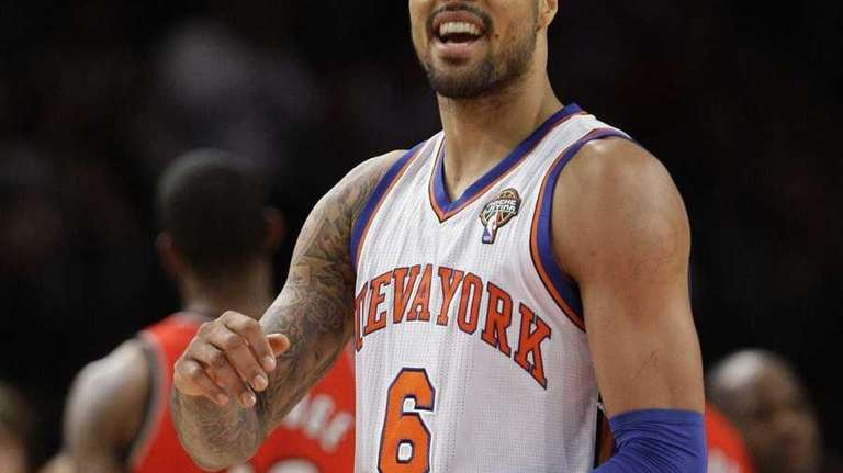 New York Knicks' Tyson Chandler reacts during the