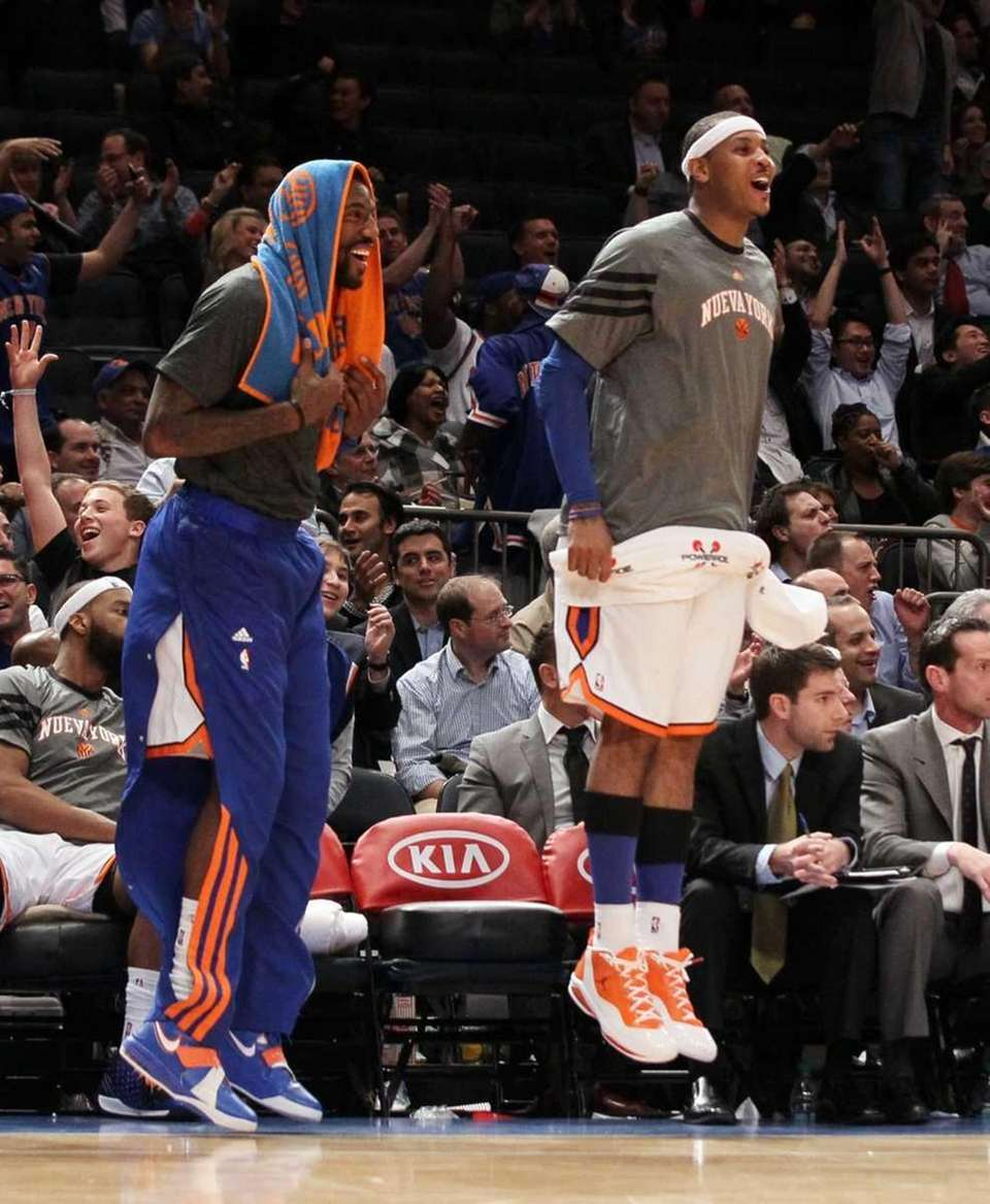 Amar'e Stoudemire #1 and Carmelo Anthony #7 of