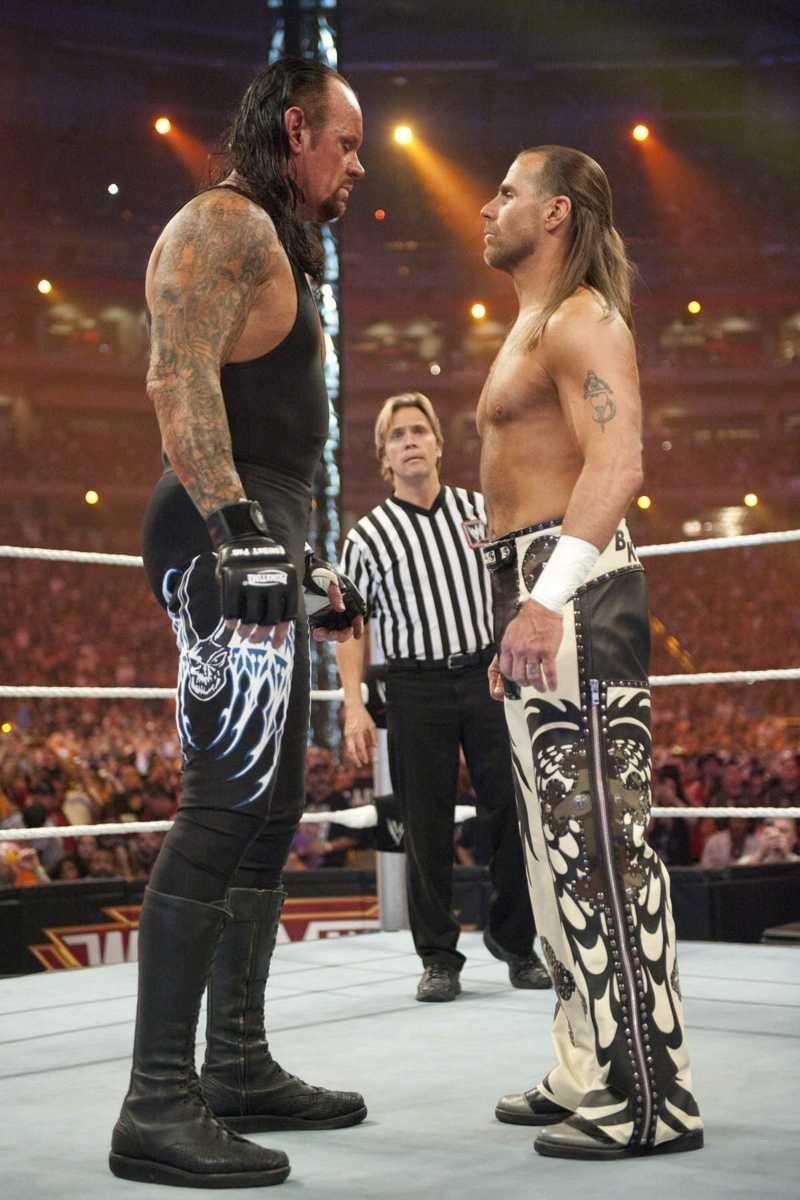 Shawn Michaels stares down The Undertaker at Wrestlemania