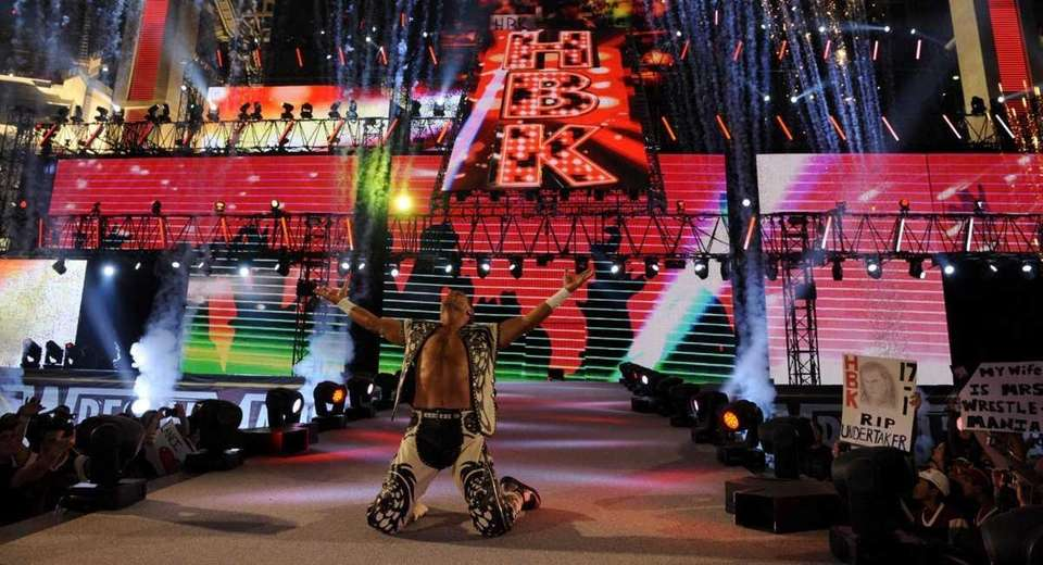 Shawn Michaels walks to the ring to face