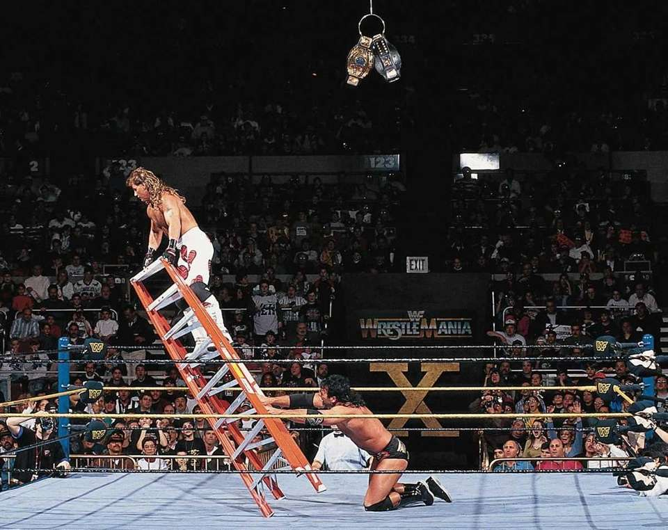 Shawn Michaels and Razor Ramon in their ladder