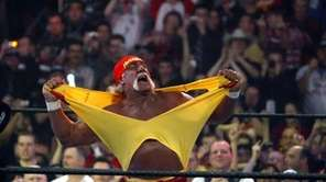 Hulk Hogan fires up the crowd between matches