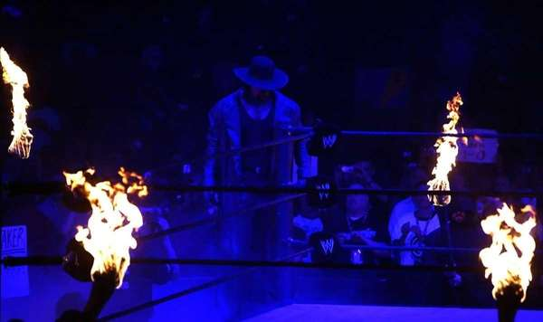 The Undertaker enters the ring before his match