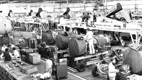 Fairchild-Republic workers assemble Air Force A-10 Warthogs in