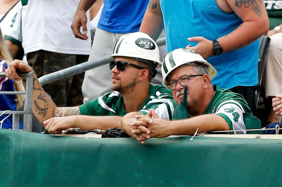 New York Jets fans looks on during the