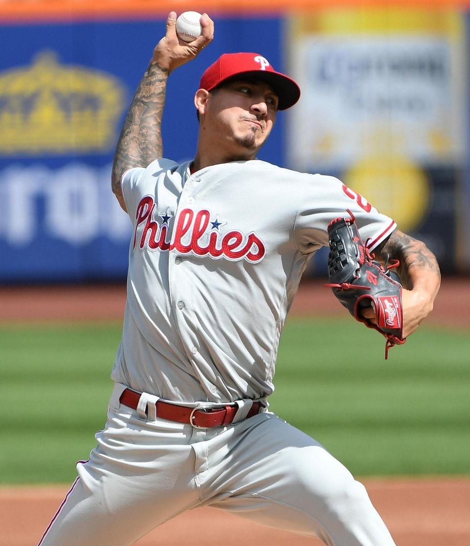Philadelphia Phillies starting pitcher Vince Velasquez delivers against