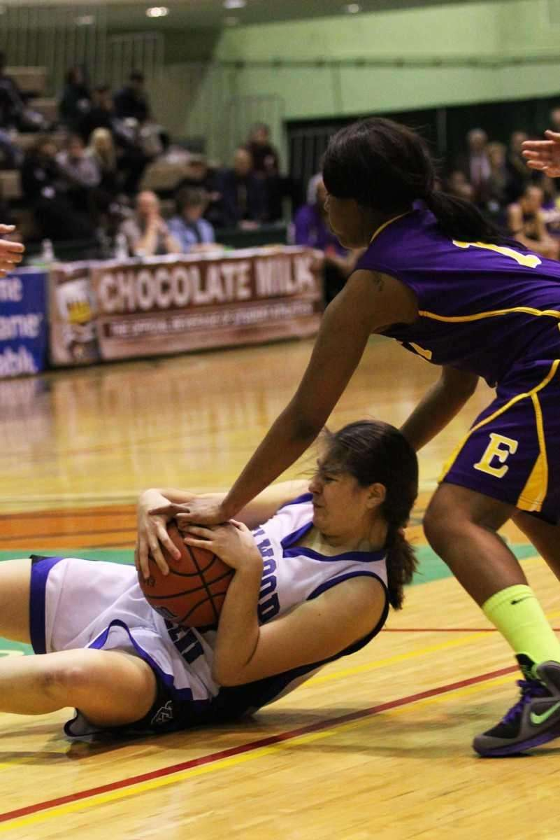 Elwood/John Glenn's Rachel Miller falls to the floor