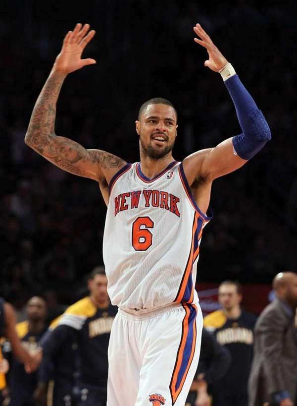 Tyson Chandler of the Knicks celebrates during the