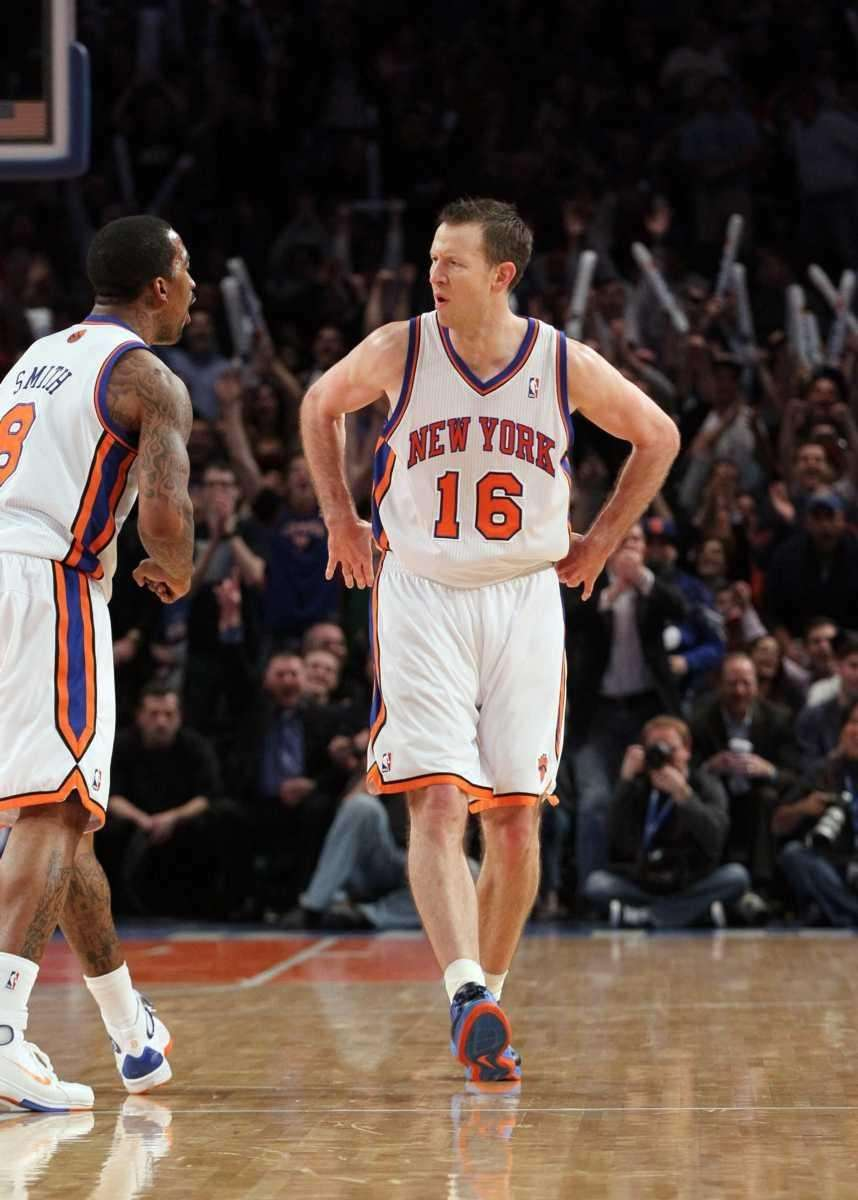 Steve Novak of the Knicks celebrates hitting a