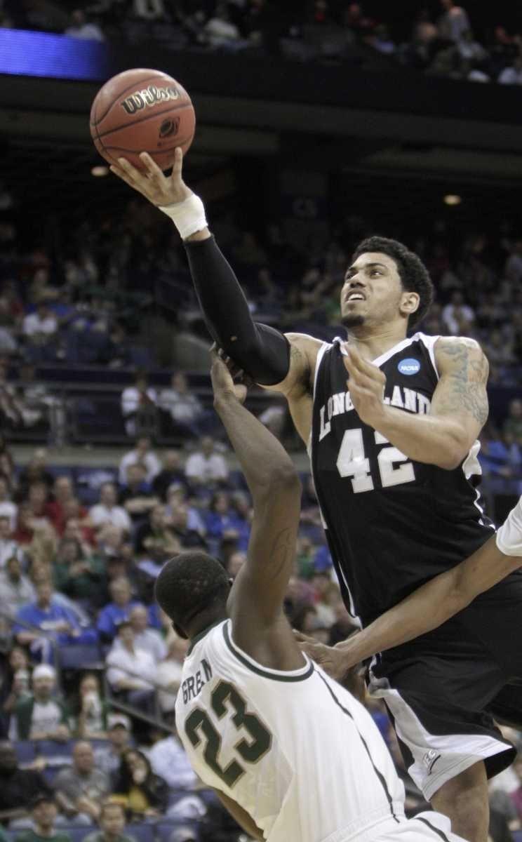 Long Island's Julian Boyd jumps to the basket