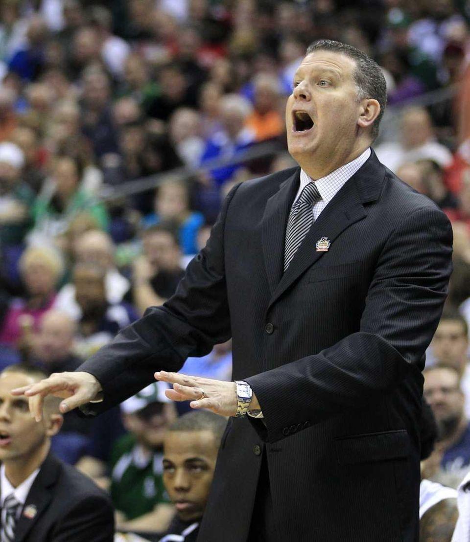 Long Island head coach Jim Ferry reacts during