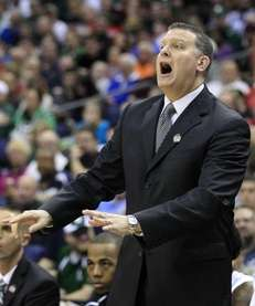 Long Island head coach Jim Ferry reacts during