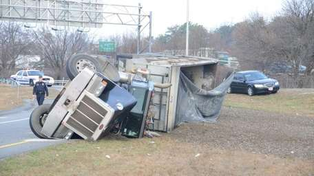 An overturned truck was reported on the eastbound