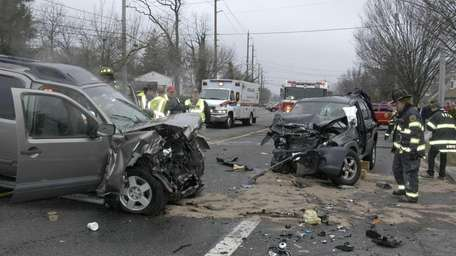 One driver suffered serious injuries in a two-car,