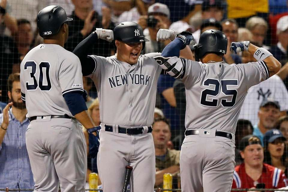 The Yankees' Gleyber Torres celebrates his two-run home