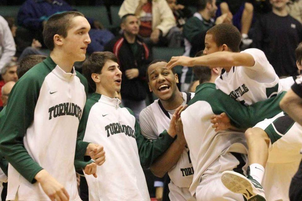Members of the Harborfields High School team celebrate