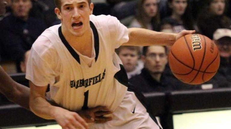 Harborfields High School's Lucas Woodhouse makes his way