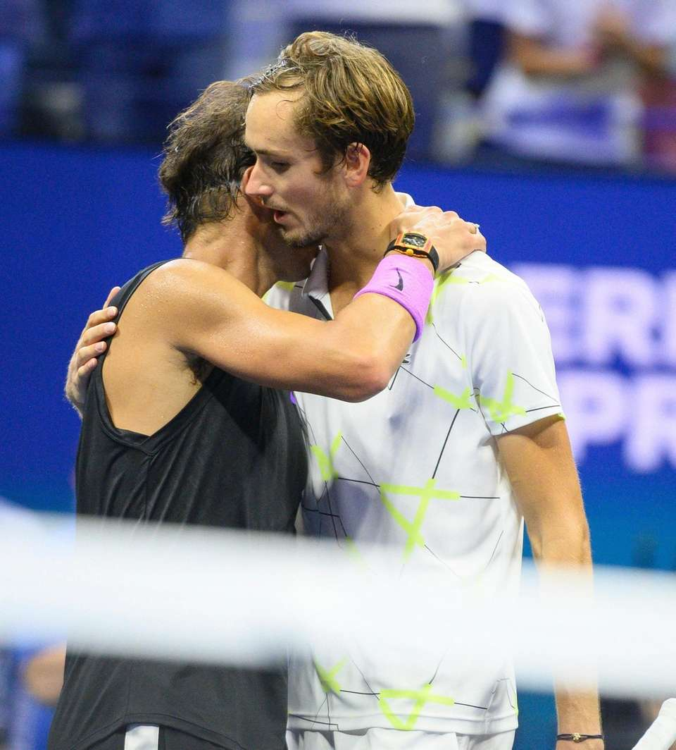 Rafael Nadal of Spain and Daniil Medvedev of