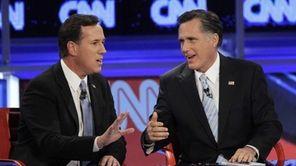 Rick Santorum and Mitt Romney in a debate
