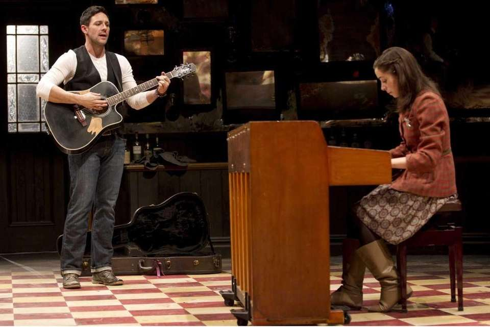 Steve Kazee and Cristin Milioti in a scene