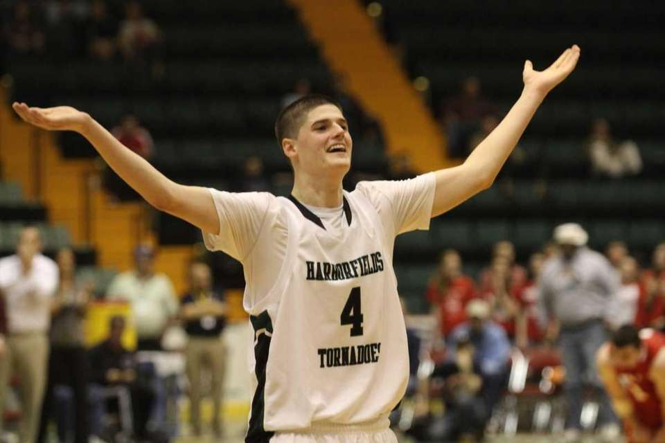 Harborfields Justin Ringen celebrates after their win over