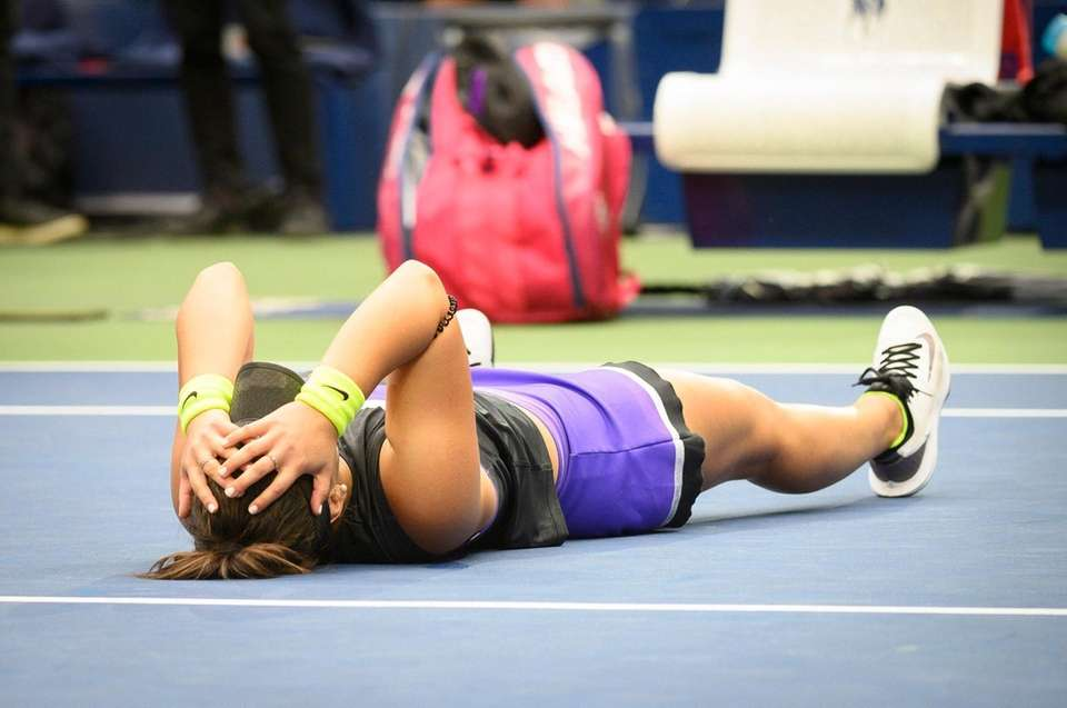 Bianca Andreescu of Canada reacts after defeating Serena