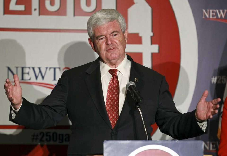 Republican presidential candidate Newt Gingrich speaks at a