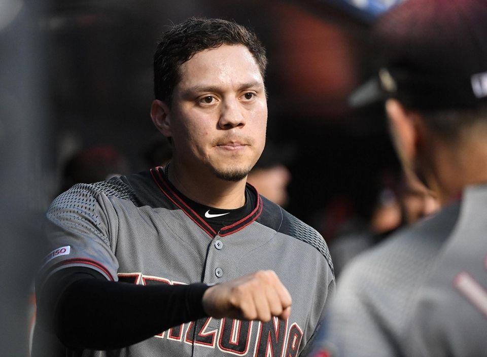 Arizona Diamondbacks' Wilmer Flores looks on from the